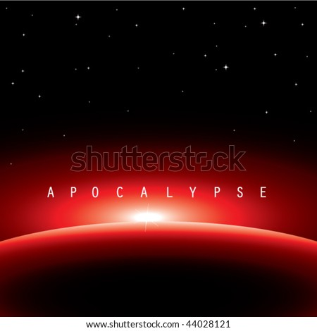 vector illustration of apocalypse-satellite view from universe  - stock vector