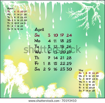 Vector illustration of April with icicles, dripping water and flowers of coltsfoot