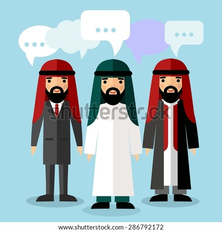 Vector illustration of Arab businessman with speech bubbles Set of  arabic businessman with dialog speech bubbles  - stock vector