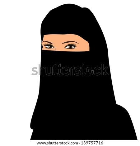 Vector illustration of arab woman. Portrait of muslim beautiful girl in paranja black - stock vector
