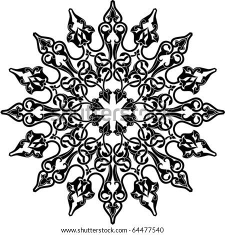 Vector illustration of Arabic circle ornament - stock vector