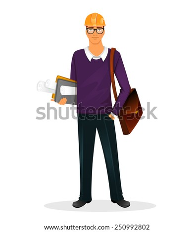 Vector illustration of Architect man character image - stock vector