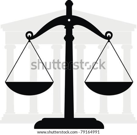 Vector illustration of architectural element - Portico (Colonnade), ancient temple and scales. Symbols of justice and law. - stock vector