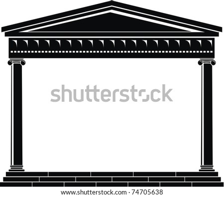 Vector illustration of architectural element - Portico of ancient temple: black and white, isolated,  white background - stock vector