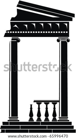 Vector illustration of architectural element - Ruins of Portico (Colonnade), an ancient temple: black, isolated, white background - stock vector