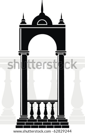 Vector illustration of architectural element - Silhouette of an arch with balustrade and spikes: black, isolated, white background - stock vector