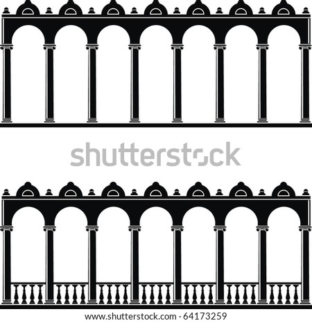 Vector illustration of architectural element - Silhouette of gallery: black, isolated, white background - stock vector