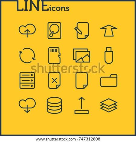 Vector Illustration 16 Archive Icons Editable Stock Photo Photo