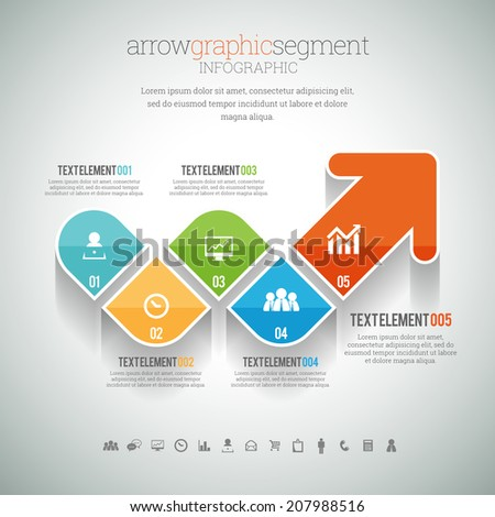 Vector illustration of arrow graphic segment infographic element. - stock vector