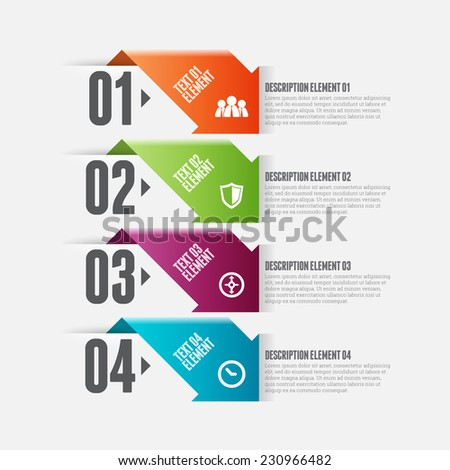 Vector illustration of arrow option infographic design element. - stock vector