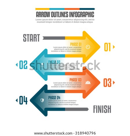 Vector illustration of arrow outlines infographic design element. - stock vector