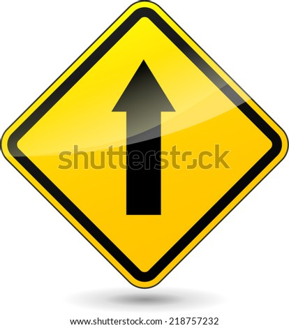 Vector illustration of arrow yellow sign on white background