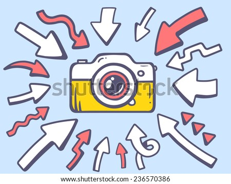 Vector illustration of arrows point to icon of photo camera on gray background. Line art design for web, site, advertising, banner, poster, board and print. - stock vector