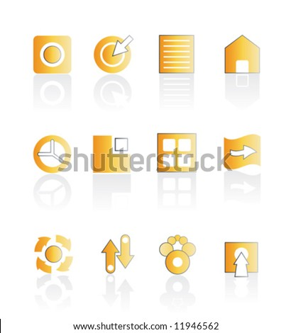 Vector illustration of assorted web icons in orange color with shadow. Stylized and modern. Easily editable. - stock vector