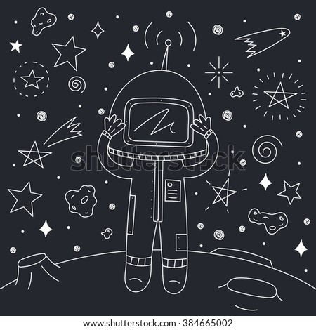 Vector Illustration of astronaut on asteroid. Space Collection.
