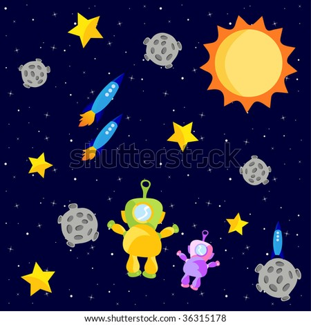 Vector Illustration of astronauts and rocket ships floating in outerspace with the sun and stars. - stock vector