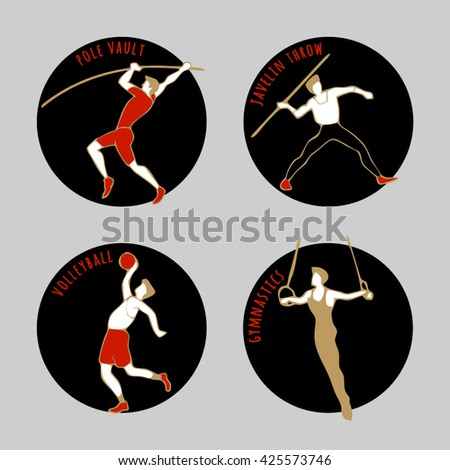 Vector illustration of Athletes. Volleyball. Javelin Throw. Pole Vault. Artistic Gymnastics.  Round sports icons with sportsmen for competitions or championship design. - stock vector
