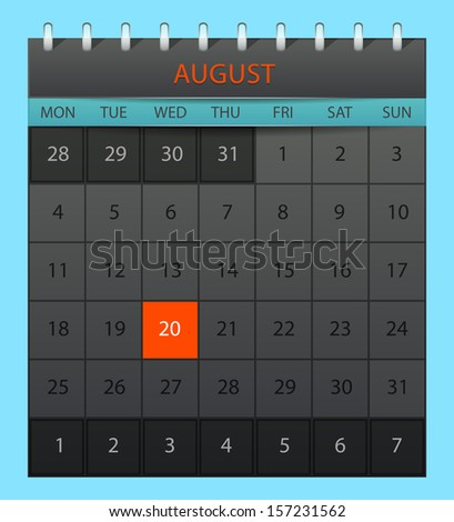 Vector illustration of August 2014