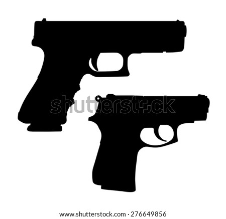 Vector illustration of automatic pistols silhouettes - stock vector