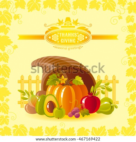 Vector illustration of autumn thanksgiving greeting card with holiday symbols on sunny background - horn of plenty with pumpkin vegetable and vineyard leafs frame. Modern elegant seasonal still life