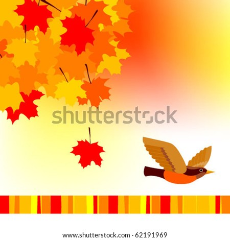 Vector illustration of autumnal theme with bird - stock vector