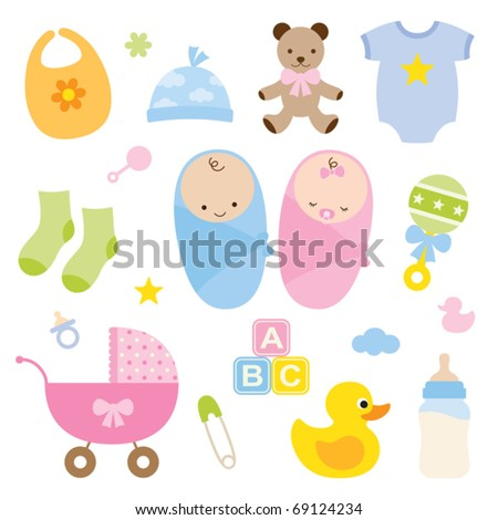 Vector illustration of babies and baby products. - stock vector