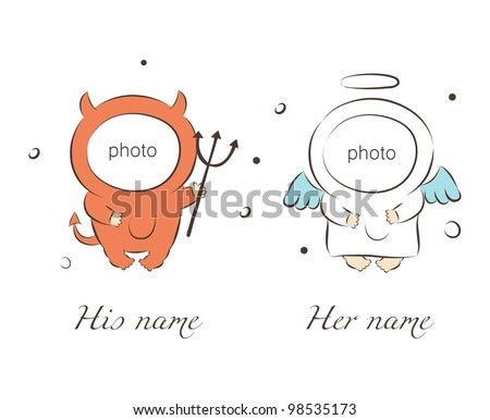 Vector illustration of babies in angel and demon suits - stock vector