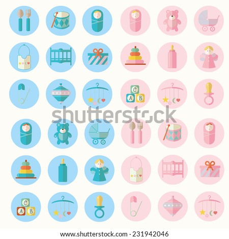 Vector illustration of babies set - stock vector