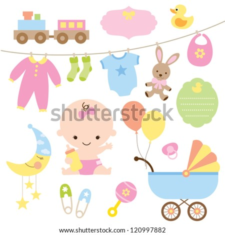 Vector illustration of baby and related items. - stock vector