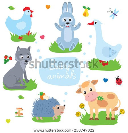 Vector illustration of baby animals. Rabbit, hedgehog , goose, chicken , wolf, cow, calf, vector drawing - stock vector