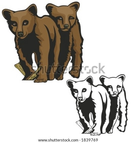 Vector illustration of baby bears.