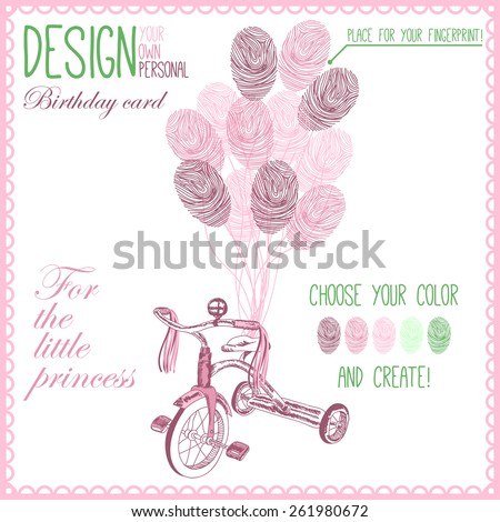 Vector illustration of  baby bicycle for little girl with balloons. Variant of design of your birthday card - stock vector