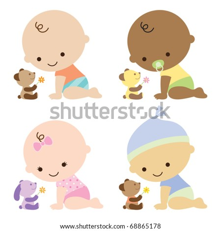 Vector illustration of baby boys and baby girl with cute teddy bears. - stock vector