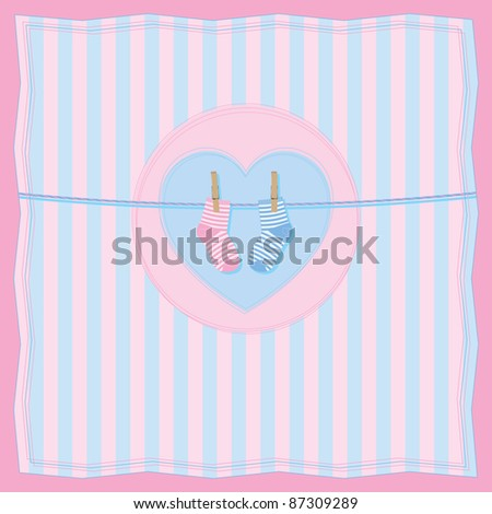 Vector illustration of baby card with clothesline and baby socks. All vector objects and details are isolated and grouped. Colors and picture composition are easy to customize. - stock vector