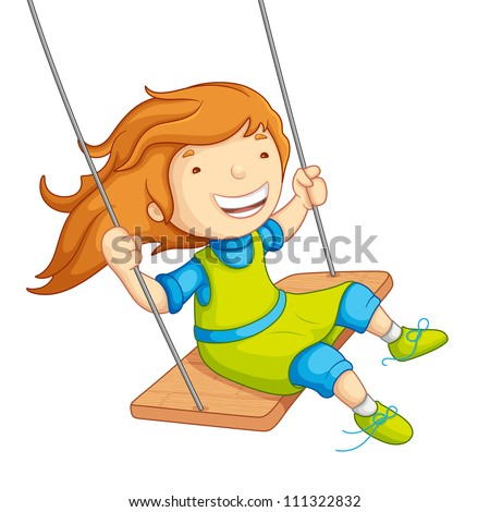 vector illustration of  baby girl swinging on swing - stock vector