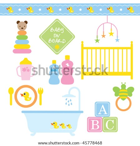 Vector illustration of baby products in pastel colors. - stock vector