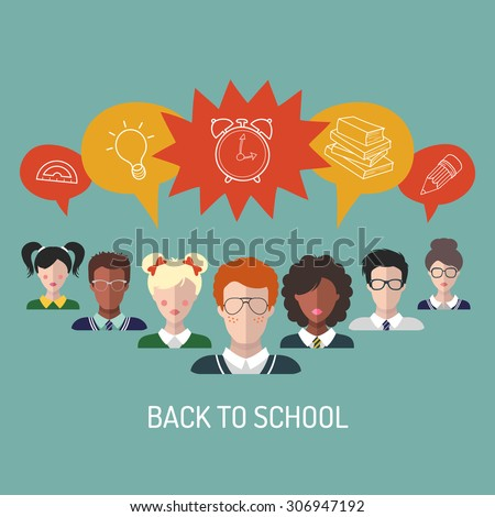 Vector illustration of back to school in flat style. School background with students and school icons. - stock vector