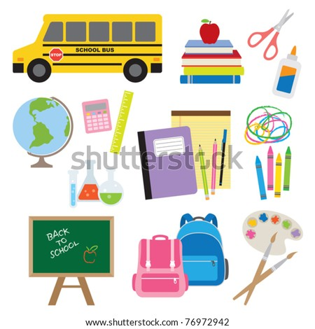 Vector illustration of Back to School supplies. - stock vector