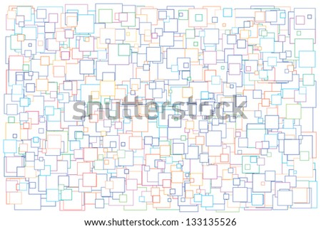 Vector illustration of background made of various size white squares with color border - stock vector