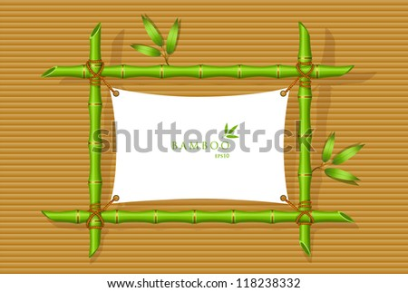 Vector illustration of Background with green bamboo frame