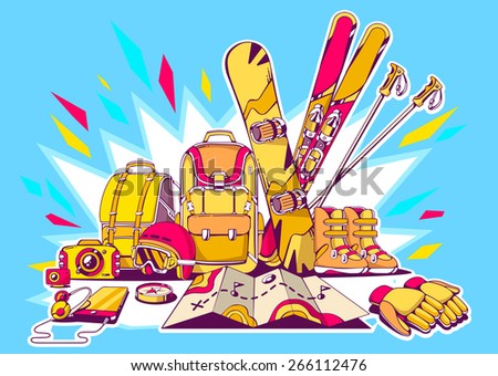 Vector illustration of backpacks and winter travel accessories with shine on blue background. Colorful hand draw line art design for web, site, advertising, banner, poster, board and print. - stock vector