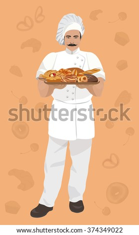 Vector illustration of baker, holding a basket with Bakery products on vintage background.  - stock vector