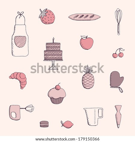 Vector Illustration of Bakery Elements - stock vector