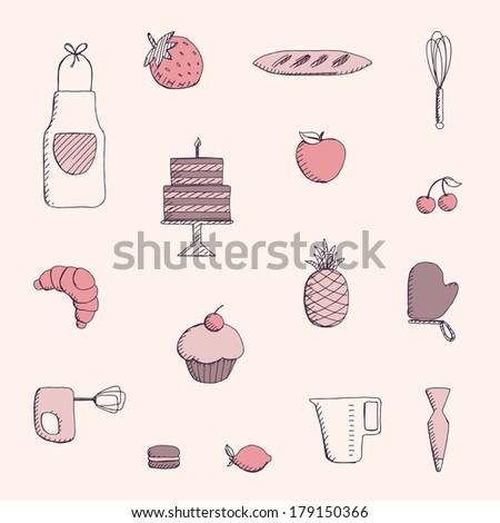 Vector Illustration of Bakery Elements - stock vector