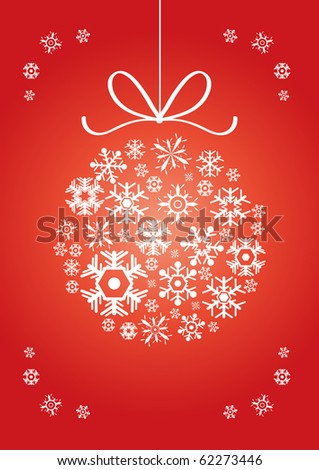 Vector illustration of ball made of snowflakes on a red background - stock vector