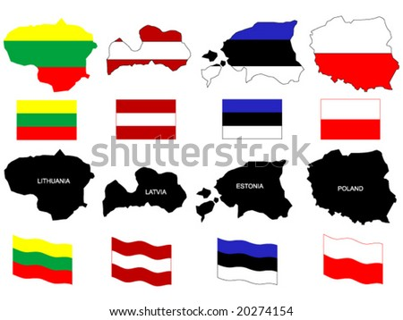vector illustration of Baltic countries  - Lithuania, Latvia, Estonia, Poland - maps with flags