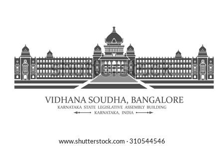 Vector illustration of Bangalore Vidhana soudha also known as legislative assembly - stock vector