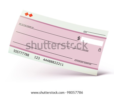 Vector illustration of bank check isolated on the white background - stock vector