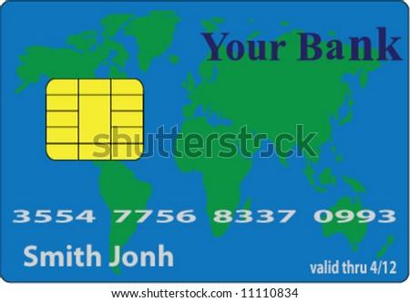 vector illustration of bank credit card - stock vector