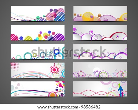 Vector illustration of banners or website headers with colorful abstract design and wave forms. EPS 10. - stock vector